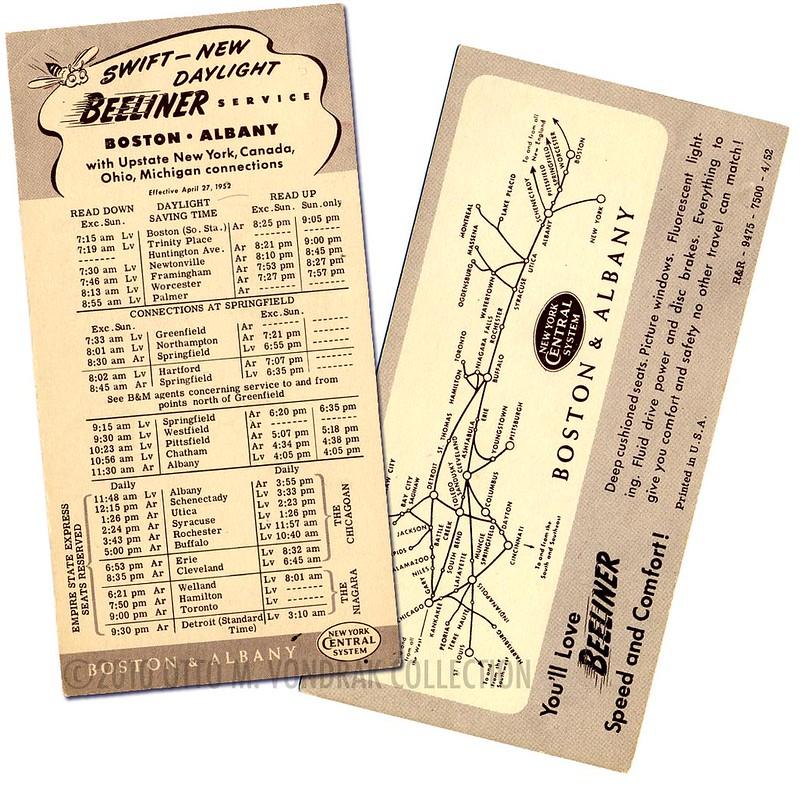 Boston & Albany Timetable 1952