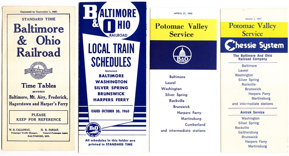 Baltimore & Ohio Harper's Ferry Timetables