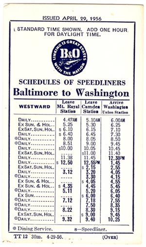 B&O Baltimore-Washington Timetable